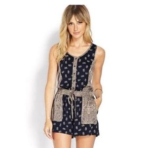 Navy and Tan Paisley Romper